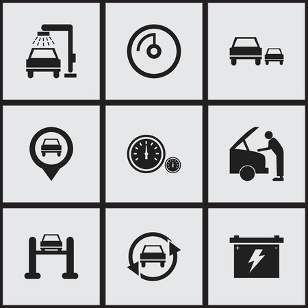 Set Of 9 Editable Transport Icons. Includes Symbols Such As Pointer, Speed Display, Auto Service And More. Can Be Used For Web, Mobile, UI And Infographic Design.