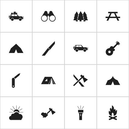 Set Of 16 Editable Camping Icons. Includes Symbols Such As Tomahawk, Clasp-Knife, Field Glasses And More. Can Be Used For Web, Mobile, UI And Infographic Design.