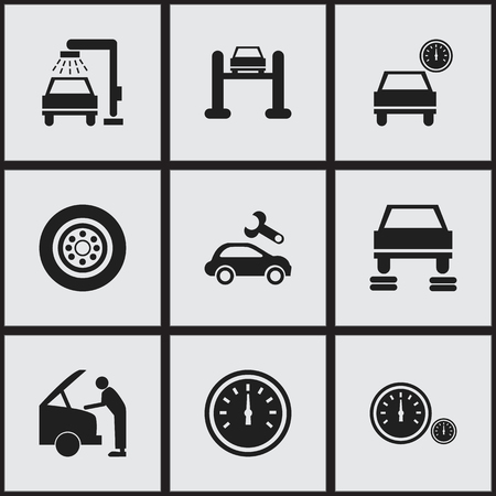 speedmeter: Set Of 9 Editable Traffic Icons. Includes Symbols Such As Speedmeter, Vehicle Wash, Tire And More. Can Be Used For Web, Mobile, UI And Infographic Design.