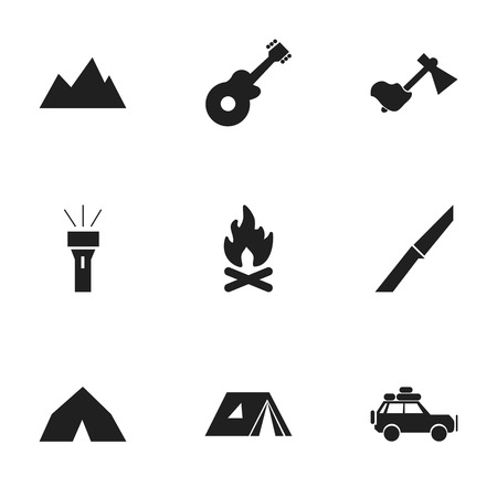 pinnacle: Set Of 9 Editable Camping Icons. Includes Symbols Such As Voyage Car, Ax, Tepee And More. Can Be Used For Web, Mobile, UI And Infographic Design.