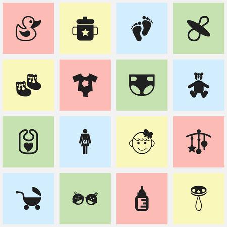 Conjunto de 16 ícones de bebê editável. Inclui símbolos como Footmark, fralda, chupetas e muito mais Pode ser usado para Web, Mobile, UI e Design Infográfico.
