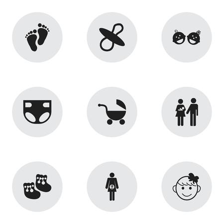 Conjunto de 9 iconos editables. Incluye símbolos como Niño Alegre, Huella, Embarazo y más. Se puede usar para diseño web, móvil, de interfaz de usuario y de infografía.