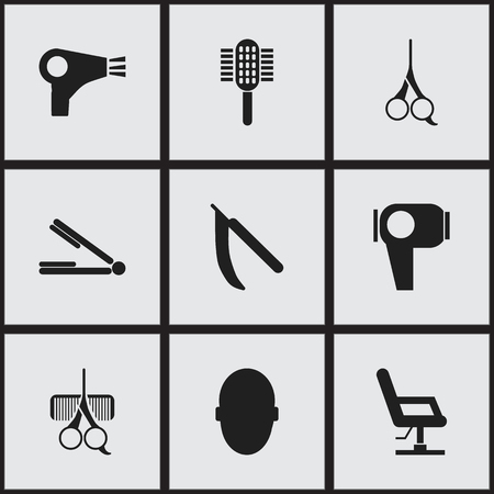 tailor seat: Set Of 9 Editable Tonsorial Artist Icons. Includes Symbols Such As Hairdresser Set, Cut Tool, Charger And More. Can Be Used For Web, Mobile, UI And Infographic Design.