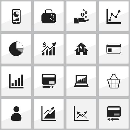 編集可能な統計の 16 のアイコンのセットです。グラフ情報サークル図、財布、取引などの記号が含まれます。Web、モバイル、UI、インフォ グラフィ  イラスト・ベクター素材