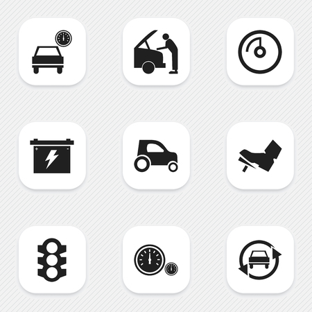 speedmeter: Set Of 9 Editable Transport Icons. Includes Symbols Such As Tuning Auto, Speedmeter, Speed Display And More. Can Be Used For Web, Mobile, UI And Infographic Design. Illustration