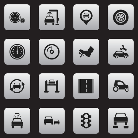 treadle: Set Of 16 Editable Transport Icons. Includes Symbols Such As Vehicle Wash, Tire, Treadle And More. Can Be Used For Web, Mobile, UI And Infographic Design.