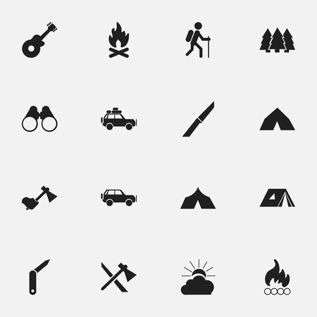 tabernacle: Set Of 16 Editable Travel Icons. Includes Symbols Such As Musical Instrument, Shelter, Gait And More. Can Be Used For Web, Mobile, UI And Infographic Design. Illustration