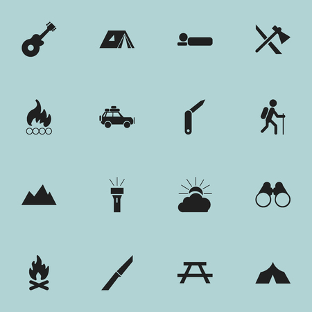 tabernacle: Set Of 16 Editable Travel Icons. Includes Symbols Such As Shelter, Tomahawk, Field Glasses And More. Can Be Used For Web, Mobile, UI And Infographic Design.