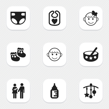 booty: Set Of 9 Editable Baby Icons. Includes Symbols Such As Cheerful Child, Pinafore, Spoon And More. Can Be Used For Web, Mobile, UI And Infographic Design. Illustration