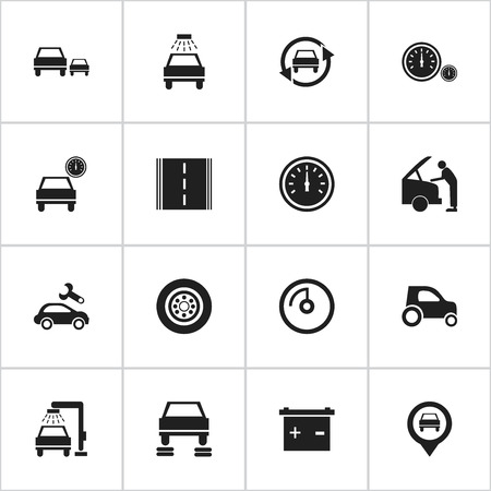 Set Of 16 Editable Vehicle Icons. Includes Symbols Such As Car Lave, Vehicle Car, Speed Display And More. Can Be Used For Web, Mobile, UI And Infographic Design.