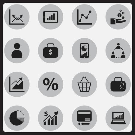 編集可能な統計の 16 のアイコンのセットです。グラフ情報、ユーザー、スキーマなどの記号が含まれています。Web、モバイル、UI、インフォ グラフ  イラスト・ベクター素材