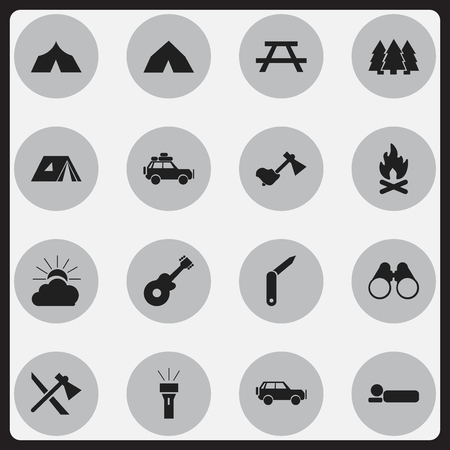 tabernacle: Set Of 16 Editable Trip Icons. Includes Symbols Such As Lantern, Ax, Refuge And More. Can Be Used For Web, Mobile, UI And Infographic Design.