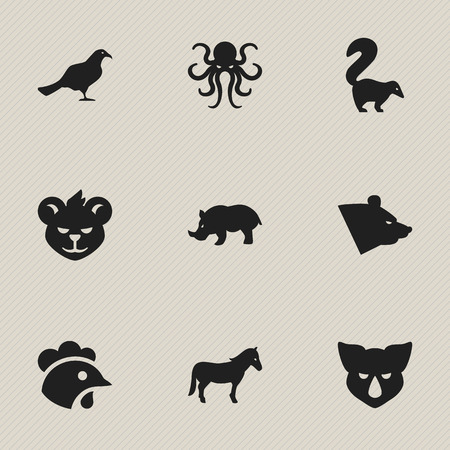 brute: Set Of 9 Editable Zoology Icons. Includes Symbols Such As Rhino, Stallion, Rhinoceros And More. Can Be Used For Web, Mobile, UI And Infographic Design.