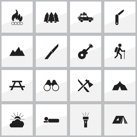 conflagration: Set Of 16 Editable Travel Icons. Includes Symbols Such As Clasp-Knife, Voyage Car, Tomahawk And More. Can Be Used For Web, Mobile, UI And Infographic Design.