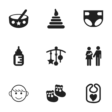 Set de 9 iconos de bebé Editable. Incluye símbolos tales como cuchara, linaje, torre y más. Se puede usar para diseño web, móvil, de interfaz de usuario y de infografía.