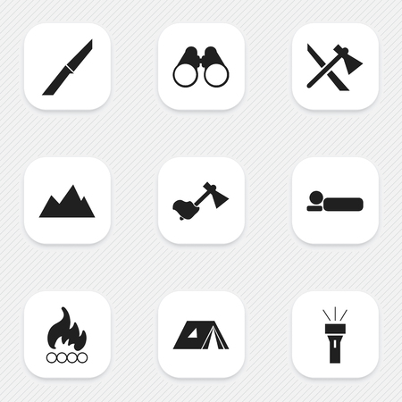 tabernacle: Set Of 9 Editable Travel Icons. Includes Symbols Such As Field Glasses, Peak, Ax And More. Can Be Used For Web, Mobile, UI And Infographic Design. Illustration