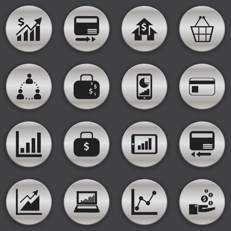 Set Of 16 Editable Statistic Icons. Includes Symbols Such As Profit, Bar Chart, Equalizer Display And More. Can Be Used For Web, Mobile, UI And Infographic Design.