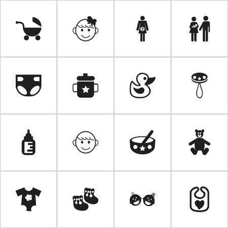Conjunto de 16 iconos editables para niños. Incluye símbolos como Goplet, cochecito, cuchara y más. Se puede usar para diseño web, móvil, de interfaz de usuario y de infografía.