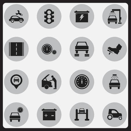 treadle: Set Of 16 Editable Vehicle Icons. Includes Symbols Such As Automotive Fix, Treadle, Highway And More. Can Be Used For Web, Mobile, UI And Infographic Design. Illustration