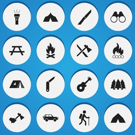 gait: Set Of 16 Editable Trip Icons. Includes Symbols Such As Ax, Lantern, Gait And More. Can Be Used For Web, Mobile, UI And Infographic Design.
