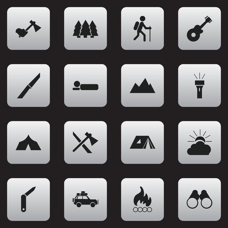 Set Of 16 Editable Camping Icons. Includes Symbols Such As Voyage Car, Shelter, Clasp-Knife And More. Can Be Used For Web, Mobile, UI And Infographic Design.