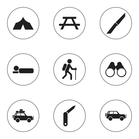 Symbols Such As Voyage Car, Clasp-Knife, Desk And More. Can Be Used For Web, Mobile, UI And Infographic Design.