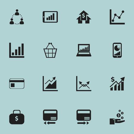 編集可能な解析の 16 のアイコンのセットです。財布、イコライザー表示、グラフ情報を取引などの記号が含まれます。Web、モバイル、UI、インフォ