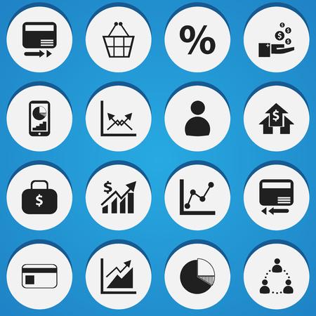 編集可能な統計の 16 のアイコンのセットです。グラフ情報、進行状況、クレジット カードなどの記号が含まれています。Web、モバイル、UI、インフ