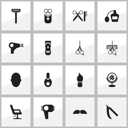 tailor seat: Set Of 16 Editable Hairstylist Icons. Includes Symbols Such As Hairdresser Set, Scent, Shaving And More. Can Be Used For Web, Mobile, UI And Infographic Design.