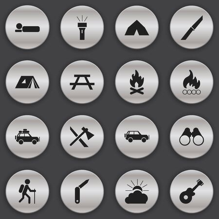 gait: Set Of 16 Editable Trip Icons. Includes Symbols Such As Fever, Blaze, Gait And More. Can Be Used For Web, Mobile, UI And Infographic Design. Illustration