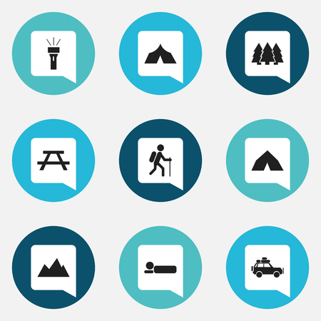 tabernacle: Set Of 9 Editable Travel Icons. Includes Symbols Such As Gait, Pine, Refuge And More. Can Be Used For Web, Mobile, UI And Infographic Design. Illustration