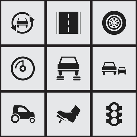treadle: Set Of 9 Editable Vehicle Icons. Includes Symbols Such As Speed Display, Treadle, Race And More. Can Be Used For Web, Mobile, UI And Infographic Design.