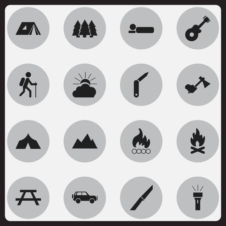 tabernacle: Set Of 16 Editable Trip Icons. Includes Symbols Such As Bedroll, Lantern, Sunrise And More. Can Be Used For Web, Mobile, UI And Infographic Design.