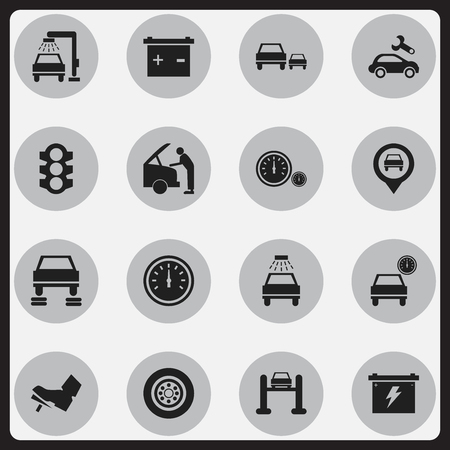 treadle: Set Of 16 Editable Car Icons. Includes Symbols Such As Speed Control, Auto Service, Treadle And More. Can Be Used For Web, Mobile, UI And Infographic Design.