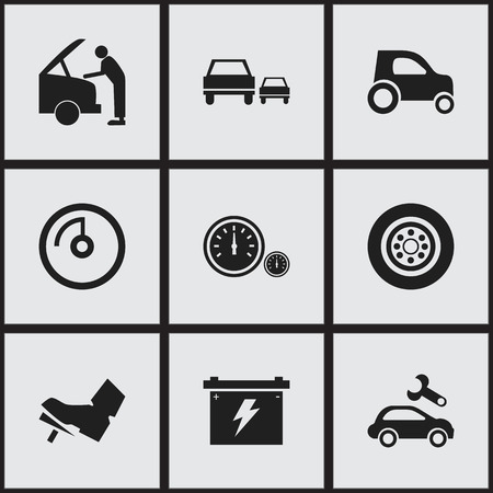 treadle: Set Of 9 Editable Car Icons. Includes Symbols Such As Tire, Treadle, Battery And More. Can Be Used For Web, Mobile, UI And Infographic Design.