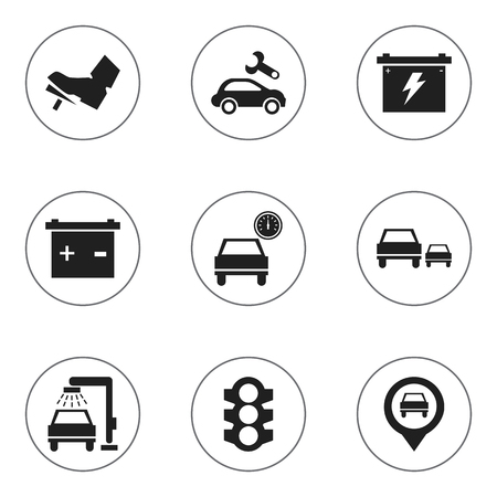 overtake: Set Of 9 Editable Transport Icons. Includes Symbols Such As Treadle, Battery, Automotive Fix And More. Can Be Used For Web, Mobile, UI And Infographic Design. Illustration