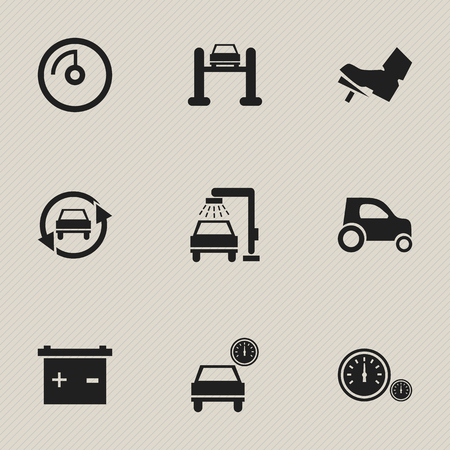 treadle: Set Of 9 Editable Vehicle Icons. Includes Symbols Such As Treadle, Automobile, Accumulator And More. Can Be Used For Web, Mobile, UI And Infographic Design.