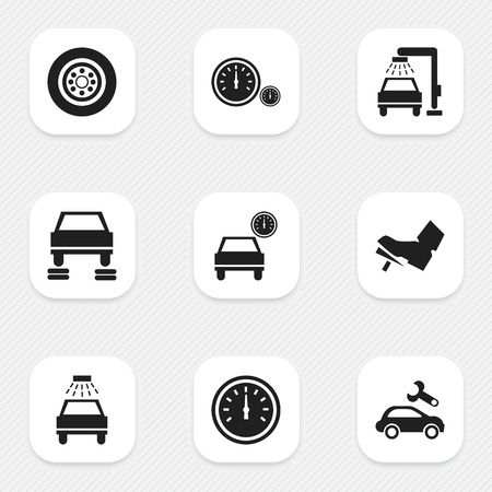 treadle: Set Of 9 Editable Traffic Icons. Includes Symbols Such As Treadle, Speed Control, Speedometer And More. Can Be Used For Web, Mobile, UI And Infographic Design. Illustration