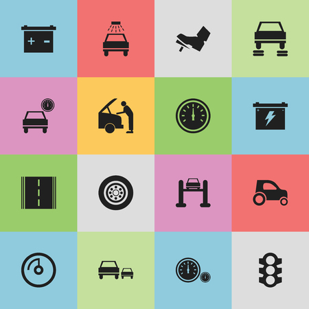 treadle: Set Of 16 Editable Vehicle Icons. Includes Symbols Such As Treadle, Stoplight, Battery And More. Can Be Used For Web, Mobile, UI And Infographic Design. Illustration