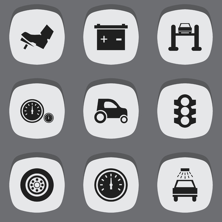 treadle: Set Of 9 Editable Traffic Icons. Includes Symbols Such As Accumulator, Speedometer, Treadle And More. Can Be Used For Web, Mobile, UI And Infographic Design. Illustration