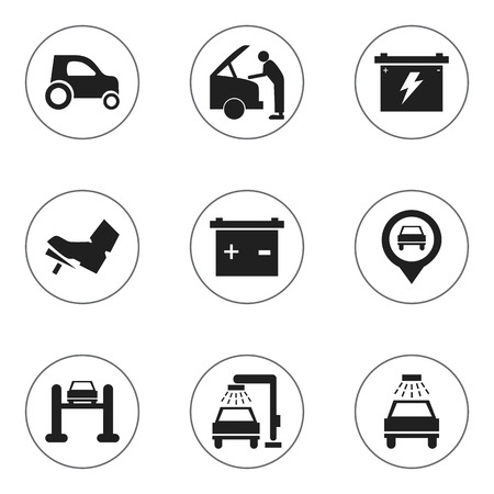 treadle: Set Of 9 Editable Transport Icons. Includes Symbols Such As Battery, Treadle, Accumulator And More. Can Be Used For Web, Mobile, UI And Infographic Design.