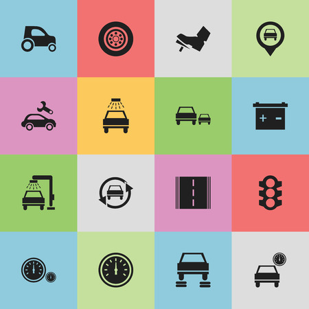 treadle: Set Of 16 Editable Car Icons. Includes Symbols Such As Treadle, Accumulator, Highway And More. Can Be Used For Web, Mobile, UI And Infographic Design. Illustration