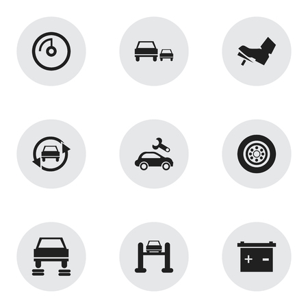 treadle: Set Of 9 Editable Car Icons. Includes Symbols Such As Tuning Auto, Race, Treadle And More. Can Be Used For Web, Mobile, UI And Infographic Design.