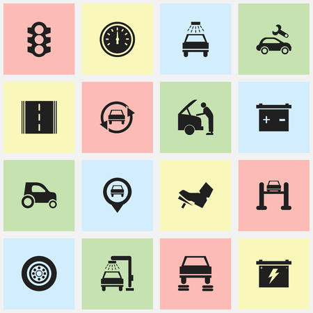 Set Of 16 Editable Car Icons. Includes Symbols Such As Pointer, Battery, Car Fixing And More. Can Be Used For Web, Mobile, UI And Infographic Design.