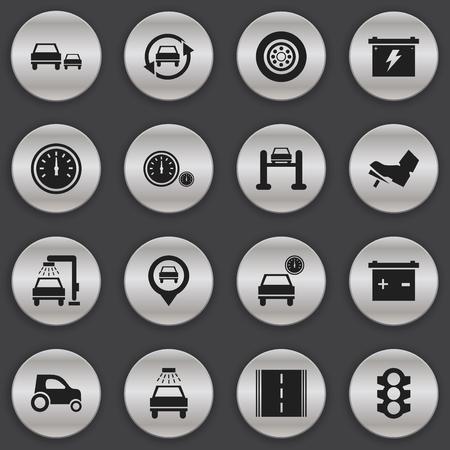 16 편집 가능한 트래픽 아이콘 집합입니다. 속도계, 자동차, 고속도로 등의 기호가 포함됩니다. 웹, 모바일, UI 및 인포 그래픽 디자인에 사용할 수 있습 일러스트