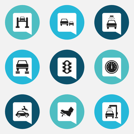 Set Of 9 Editable Transport Icons. Includes Symbols Such As Speed Control, Automotive Fix, Auto Repair And More. Can Be Used For Web, Mobile, UI And Infographic Design. Illustration