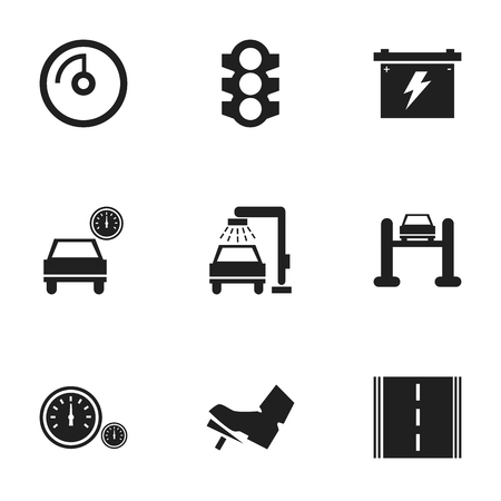 treadle: Set Of 9 Editable Vehicle Icons. Includes Symbols Such As Automobile, Treadle, Highway And More. Can Be Used For Web, Mobile, UI And Infographic Design.