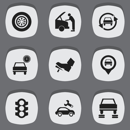 treadle: Set Of 9 Editable Traffic Icons. Includes Symbols Such As Auto Repair, Car Fixing, Treadle And More. Can Be Used For Web, Mobile, UI And Infographic Design.
