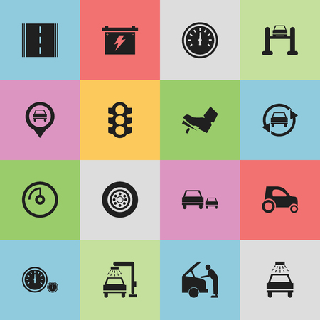 treadle: Set Of 16 Editable Transport Icons. Includes Symbols Such As Treadle, Tire, Speedometer And More. Can Be Used For Web, Mobile, UI And Infographic Design.
