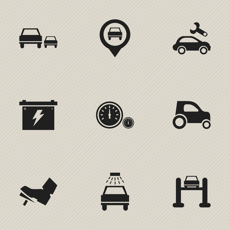 treadle: Set Of 9 Editable Transport Icons. Includes Symbols Such As Race, Treadle, Auto Service And More. Can Be Used For Web, Mobile, UI And Infographic Design. Illustration
